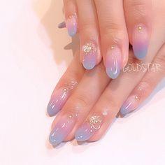 May 2019 - french nails acrylic Blue Cute Nail Art, Cute Nails, Pretty Nails, Soft Nails, Gradient Nails, Soft Grunge Nails, Gradation Nail, Minimalist Nails, Nail Swag