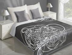 Modne narzuty dwustronne na łóżko w kolorze szaro białym