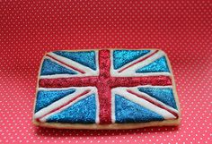 Glitter British flag cookie