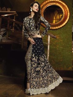 BLACK COLOR FRONT OPEN HEAVY EMBROIDERY WORK DESIGNER ANARKALI SALWAR KAMEEZ SUIT