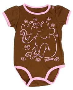 d739f7e65 Horton The Elephant Brown Infant Girls Creeper With Pink Trim From Dr Seuss  #SpaceCityKids #