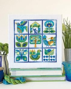 Celebrate spring with this modern sampler. Designed by Satsuma Street and stitched in a stunning palette of greens and blues, this project can be for anytime of