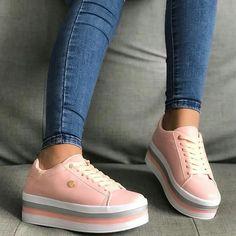 #zapatos #calzadodama en color #rosa #moda Cute Sneakers, Casual Sneakers, Casual Shoes, Shoes Sneakers, Pretty Shoes, Beautiful Shoes, Cute Shoes, Mens Fashion Shoes, Fashion Boots