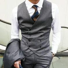 Online Shop Design Mens Casual Double breasted Slim Suit Tuxedo Dress Vest  Waistcoat K b1ad4e3f7ff