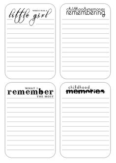 childhood journaling - free printables by Karenika Project Life Freebies, Project Life Cards, Project Life Scrapbook, Scrapbook Journal, Filofax, Mini Albums, Journal Pages, Junk Journal, Journaling