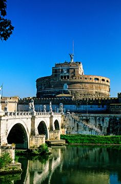 Ponte Sant' Angelo (bridge) and Castel Sant' Angelo, Rome, Italy  #visit #places to #travel