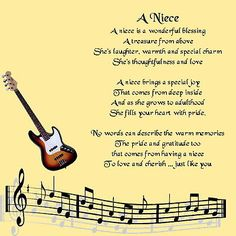 Personalised Coaster - Niece  Poem -  Music  Design  +  FREE GIFT BOX