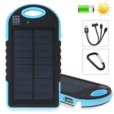 [$12.47] HAWEEL 8000mAh Double USB Power Bank Solar Charger with LED Flash Light for iPhone 6 & 6 Plus / Samsung Galaxy Note 5 / Note 5 Edge / HTC and Other Mobile Phones(Blue)