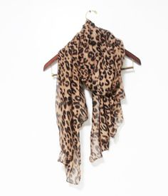 Brown Leopard Scarf Animal Pattern Scarf Brown by LitoPinkOwl, $15.00