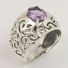 925 Sterling Silver Ring Size US 7.25 Natural AMETHYST Gemstone Wholesale Offer #Unbranded