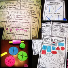 First grade math is all about fun and repeated practice! Well, you know what& not fun that I clearly need repeated practice with? Making . Fractions For Kids, Teaching Fractions, Math Fractions, Fun Math, Math Games, Math Activities, Math Worksheets, Primary Maths, Primary Teaching