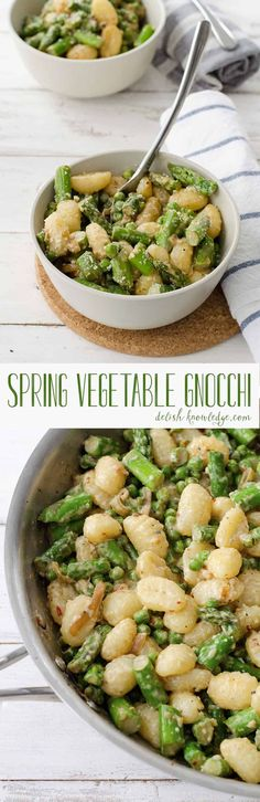Spring Vegetable Gnocchi! Peas and asparagus in a light cream sauce and gnocchi. Vegetarian | #asparagus #vegetarian #pasta #weeknightdinner #healthy #dinner #vegetarianrecipes www.delishknowledge.com
