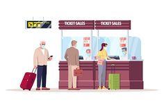 Bus Terminal, Ticket Sales, Counter Design, Color Vector, Photoshop Design, Cartoon Characters, Airline Travel, Travel Tourism, Custom Design