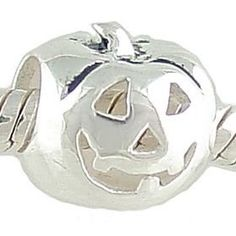Show your spooky side with this petite sterling silver jack-o-lantern charm! With a grinning face carved into its hollow pumpkin interior, this JOL charm is compatible with major brand sterling silver 3mm Cable European Charm Bracelets. Total weight for this charm is 1.2 grams and it measures approximately 10.0 mm x 8.3 mm. A perfect gift for Halloween!