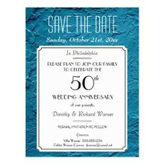 Faux Blue Textured Party Reunion Save the Date Postcard - anniversary gifts ideas diy celebration cyo unique