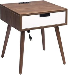 Amazon.com: Nightstand End Table with Drawers Storage, Frylr Bedside Table Latest with 2 Power Sockets and 2.1A USB Charging Ports Design for Living Room Sofa, Light Walnut and White : Everything Else