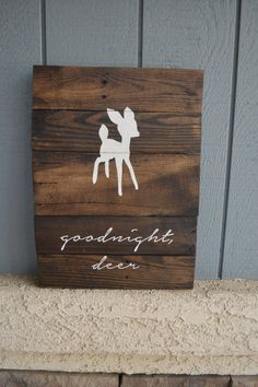 Goodnight deer Reclaimed Wood Handpainted Sign by DevenieDesigns