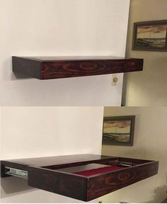 A Free Floating Shelf With Hidden Compartment #WoodworkingProjectsTutorials