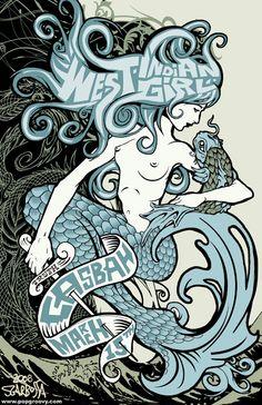 Crewkoos Rock Poster Artists Interviews: Mark Sgarbossa (US) Mermaid Cove, Mermaid Art, Mermaid Purse, Mermaid Sculpture, Surf Logo, Your Spirit Animal, Rock Posters, Typography Poster, Street Art