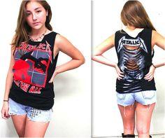 Metallica Tank with Ladder Cut Back by Julia Takai (handmade) #Handmade #RockRollMetalRetro
