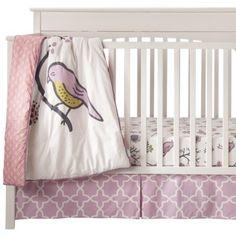 Birds & Flowers Crib Bedding Set from Target- http://www.target.com/p/room-365-trade-birds-flowers-3pc-crib-set/-/A-14694666#prodSlot=medium_1_16