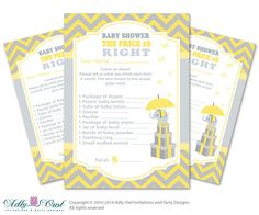 Yellow Gray Elephant Price is Right Game by adlyowlinvitations
