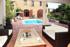 Isn't This a Lovely Courtyard to Shelter From The Midday Sun, Pezenas, South of France! Totally and beautifully renovated large stone built house. Fabulous home with gite, B&B possibilities as it has a separate guest entrance. Montpellier, 8 Bedroom Villa, Luxury Property For Sale, House Entrance, South Of France, Luxury Real Estate, Luxury Homes, Swimming Pools, Building A House