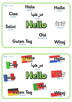 Twinkl Resources >> Mixed Language Hello Display Signs >> Thousands of printable primary teaching resources for EYFS, KS1, KS2 and beyond! hello sign, foreign language, different languages, foreign, language,