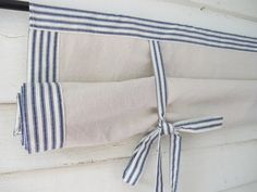 Ticking Roll Up Window Shade Mitered Banding Tie by BettyandBabs