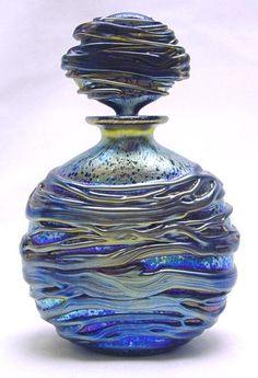 "Sea"", blue perfume bottle designed by Timothy Harris, Isle of Wight Studio.""Night Sea"", blue perfume bottle designed by Timothy Harris, Isle of Wight Studio. Perfumes Vintage, Antique Perfume Bottles, Vintage Bottles, Blue Perfume, Broken Glass Art, Sea Glass Art, Shattered Glass, Fused Glass, Bottle Art"