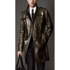 Brown Alligator Skin Leather Men's Trench Coat For Sale | Leather Jackets