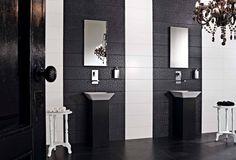 carrelage salle de bain noir et blanc à motifs floraux fins