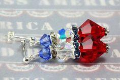 Swarovski Patriotic Earrings Red White by NancysCrystalFantasy