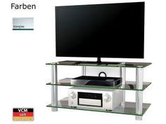 VCM TV-Möbel Lundal Klarglas Aluminium TV Rack