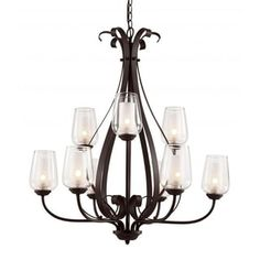 Cambridge 9-Light Rubbed Oil Bronze 31 in. Chandelier with Frosted/Clear Glass