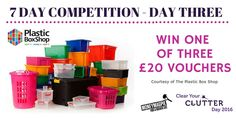"Competition Day Three – You could be one of three lucky readers to win a £20 voucher to spend online with the Plastic BoxShop!  Great storage solutions, perfect for tidying away any clutter.  For your chance to win: Like our ""Clear Your Clutter Day"" Facebook page https://www.facebook.com/NationalClearYourClutterDay/ Share this post and enter here http://www.moneymagpie.com/article/competition-win-1-of-3-20-plastic-box-shop-vouchers-up-for-grabs"