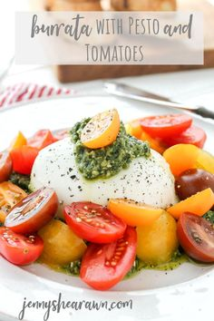 Creamy burrata topped with homemade pesto and halved multicolored cherry or grape tomatoes. A simple, gorgeous and fresh appetizer to celebrate all the summer flavors. In fact, this might be the only summer appetizer you will ever need. #burratarecipes #summerrecipes #tomatorecipes #burratawithtomatoes #summerappetizers #summerproducerecipes #cheeserecipes Tomato Appetizers, Vegetable Appetizers, Healthy Appetizers, Appetizer Recipes, Healthy Snacks, Healthy Summer Recipes, Healthy Salad Recipes, Veggie Recipes, Real Food Recipes