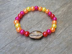 Pink Beaded Hawaiian Cowry Bracelet, $10.00 + FREE SHIPPING!