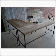 Modern Industry L-Shape Reclaimed Wood Desk. This place has a lot of cool reclaimed wood furniture.