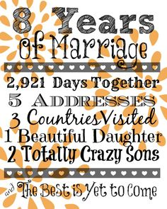 8 YEAR Wedding Anniversary Ideas year by year. Mine will be different of course, but I live the idea.