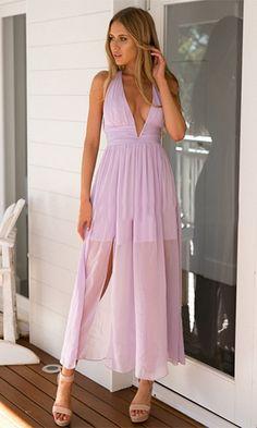 Secret Love Light Purple Lavender Sleeveless Plunge V Neck Twist Back Halter Chiffon Maxi Dress