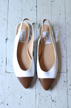 1980s leather flats / Esprit white leather skimmers