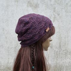 Lacy Alpaca Winter Hat in Navy Purple Different by acrazysheep Crochet Hook Sizes, Crochet Hooks, Free Crochet, Hat Crochet, Crochet Patterns For Beginners, Easy Crochet Patterns, Hat Patterns, Hat Making, Crochet Projects
