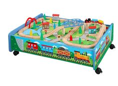 Wooden Train Set with Train Table/Trundle, BRIO and Thomas and Friends Thomas The Train Table, Model Training, Wooden Toy Train, Kid Toy Storage, Playroom Storage, Bed Storage, Storage Ideas, Model Train Layouts, Thomas And Friends
