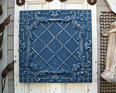 "Tin Ceiling Tile. FRAMED 24"" antique metal tile.  Vintage architectural salvage wall decor. Indigo Navy blue wall decor. Old pressed tin."