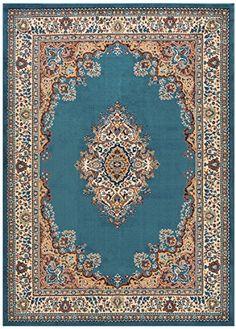 "Medallion Traditional Oriental Persian Design Area Rug Rugs (Petrol Blue, 4'11"" x 6'11"")"