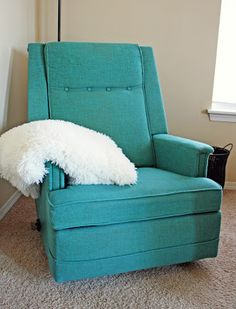 The recliner was another great find. It's a vintage La-Z-Boy Reclina-Rocker: OMG! That would be perfect in me & George's living room Condo Living Room, Living Room Chairs, Home And Living, Striped Chair, La Z Boy, Funky Furniture, Mid Century Furniture, Armchair, Upholstery