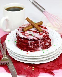 Red Velvet Cinnamon Christmas Pancakes