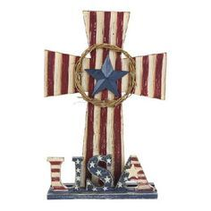 WOODEN PATRIOTIC CROSS ON A STAND