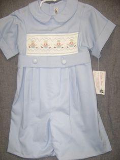 Size 4 Smocked one piece Boy's Suit by SmockingByGinaBug on Etsy, $75.00